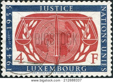LUXEMBOURG - CIRCA 1955: A stamp printed in Luxembourg shows symbol
