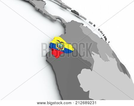 Map Of Ecuador With Flag On Globe