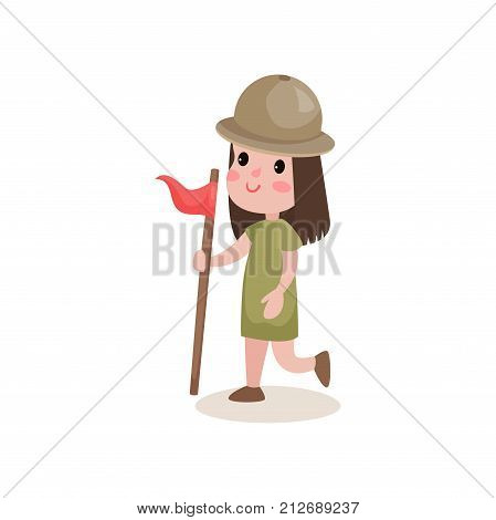 Girl scout character in camping costume running with flag in hand. Kid taking part in relay race. Summer outdoor activity concept. Cartoon flat design vector illustration isolated on white background