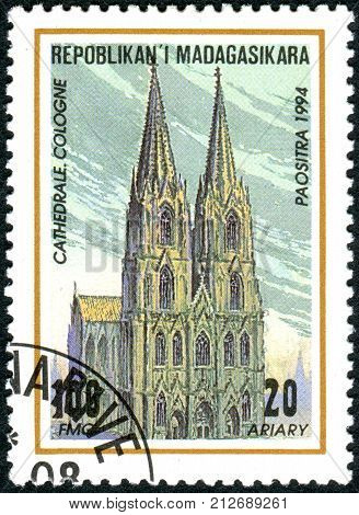 MADAGASCAR - CIRCA 1994: A stamp printed in Madagascar shows the building Cologne Cathedral (High Cathedral of Saint Peter) circa 1994