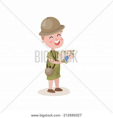 Excited little kid holding map in hands. Hiking recreation. Cartoon character of boy scout in khaki clothes with camping flask. Outdoor activities and terrain orientation. Flat vector illustration.