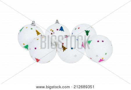 White Christmas ball decoration for x-mas tree isolated.