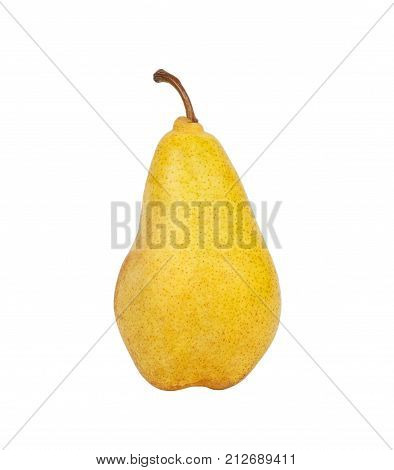 pears isolated on white background. ripe yellow pear.