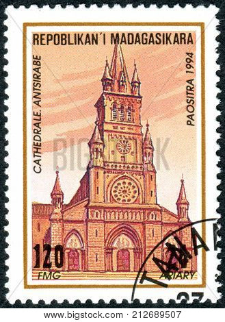 MADAGASCAR - CIRCA 1994: A stamp printed in Madagascar shows the building Antsirabe cathedral circa 1994