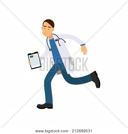 Male doctor with clipboard running fast to his patient. Cartoon character of medical worker in white robe with stethoscope around his neck. Treatment and healthcare concept. Flat vector illustration.