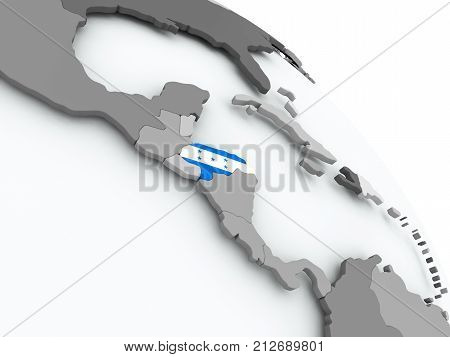 Map Of Honduras With Flag On Globe