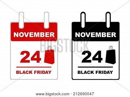 Illustration of black friday calendar isolated on white