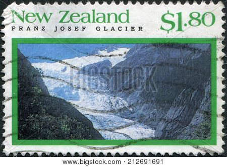 NEW ZEALAND - CIRCA 1992: Postage stamps printed in New Zealand shows Franz Josef Glacier Westland Tai Poutini National Park circa 1992