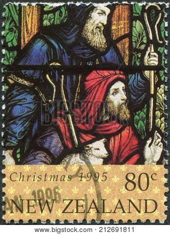 NEW ZEALAND - CIRCA 1995: A stamp printed in New Zealand is dedicated to Christmas Stained glass windows depicted Shepherds circa 1995