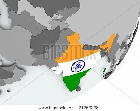 Flag Of India On Map