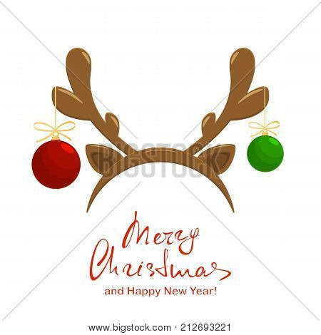 Christmas balls and holiday mask with reindeer antler isolated on white background. Text Merry Christmas and Happy New Year, illustration.