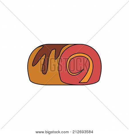 Pudding colorful bakery product cartoon icon. Vector illustration of Pudding bakery product isolated on white background