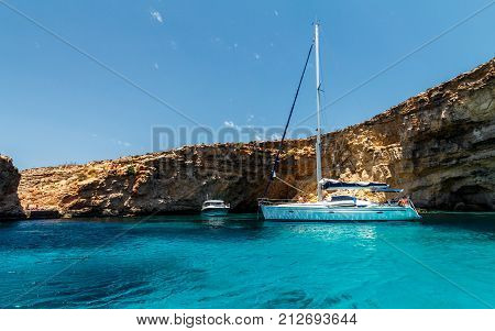 sailing along Comino island near by Malta Europe