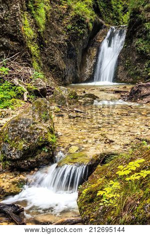 Double waterfalls on a stream in forest national park Mala Fatra Slovakia Europe.