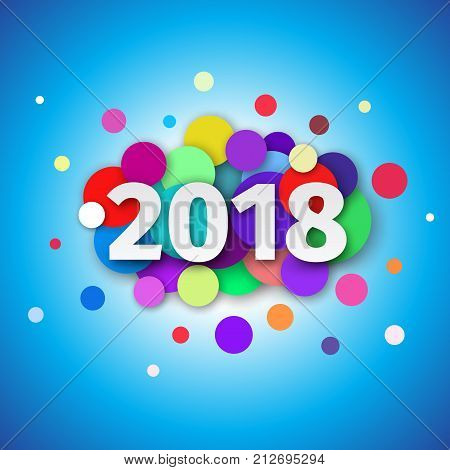 Happy New Year 2018 background. Template design for greeting card with confetti and date  2018 year. Festive flyer or brochure. Creative vector illustration