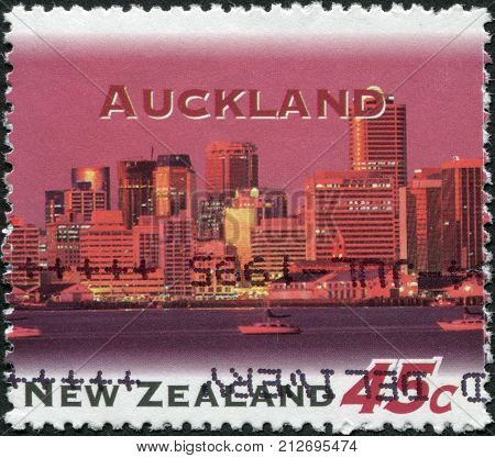 NEW ZEALAND - CIRCA 1995: A stamp printed in New Zealand shows Auckland at Night circa 1995