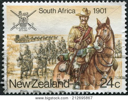 NEW ZEALAND - CIRCA 1984: Postage stamps printed in New Zealand is devoted to Military History South Africa Anglo-Boer War shows trooper circa 1984