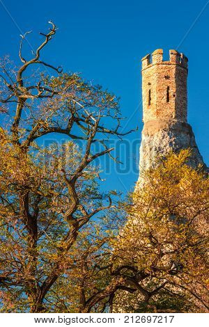 Tower of Medieval Castle Devin Slovakia Europe.