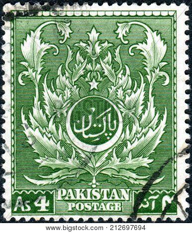 PAKISTAN - CIRCA 1951: A stamp printed in Pakistan shows Acanthus (ornament) circa 1951