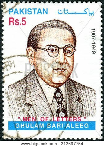 PAKISTAN - CIRCA 1999: Postage stamp printed in Pakistan is dedicated to the 50th anniversary of the death of Ghulam Bari Aleeg circa 1999