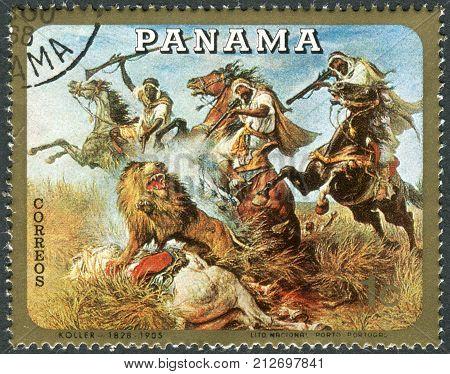 PANAMA - CIRCA 1968: Postage stamp printed in Panama shows Hunting on Horseback by Rudolf Koller circa 1968