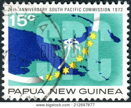 Papua New Guinea - Circa 1973: A Postage Stamp Printed In Papua New Guinea, Is Dedicated To 25Th Ann