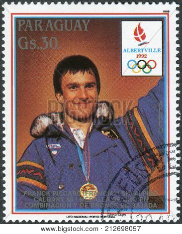 PARAGUAY - CIRCA 1989: Postage stamp printed in Paraguay devoted Winter Olympic Games in Albertville shown medalist Winter Olympic Games in Calgary Franck Piccard circa 1989