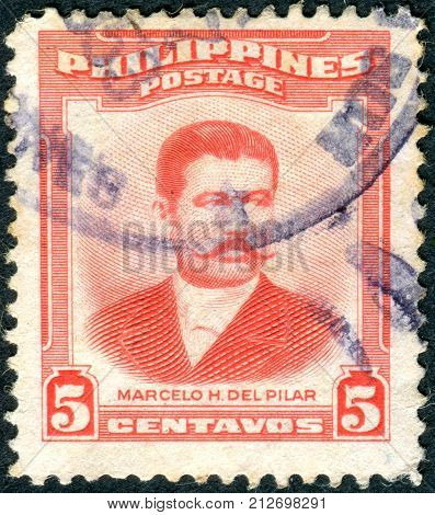 PHILIPPINES - CIRCA 1952: Postage stamp printed in the Philippines is shown Marcelo H. del Pilar circa 1952