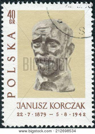 POLAND - CIRCA 1962: Postage stamp printed in Poland shows a sculpture of Janusz Korczak by Xawery Dunikowski circa 1962