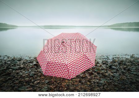 Pinky umberella at the beach in toned lake landscape