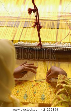 Top View Of Hand Weaving