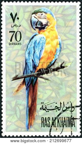 RAS AL-KHAIMAH - CIRCA 1972: A stamp printed in Ras al-Khaimah shows parrot circa 1972