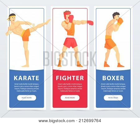 Martial arts fighters, karate, fighter, boxer banners cartoon vector elements for website or mobile app with sample text
