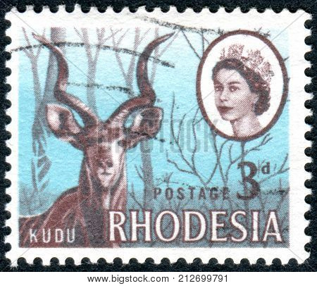 RHODESIA - CIRCA 1966: A stamp printed in Rhodesia shows the greater kudu (Tragelaphus strepsiceros) circa 1966