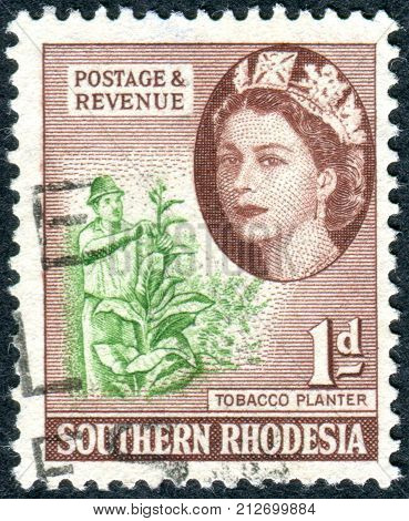 SOUTHERN RHODESIA - CIRCA 1953: A stamp printed in Southern Rhodesia shows the cultivation of Nicotiana tabacum circa 1953