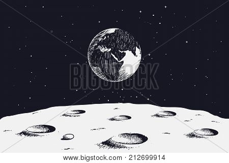 view from surface of the Moon to Earth.Hand drawn vector illustration