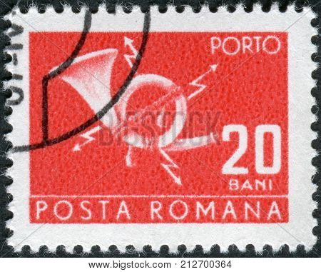 ROMANIA - CIRCA 1967: Postage stamp (stamp dues) printed in Romania shows postal horn with lightning circa 1967