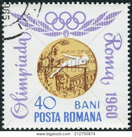 ROMANIA - CIRCA 1964: Postage stamp printed in Romania dedicated to High jump - Roma Olympics 1960 gold medalist Iolanda Balas circa 1964