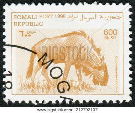 SOMALIA - CIRCA 1998: A stamp printed in Somalia shows the animal Blue wildebeest (Connochaetes taurinus) circa 1998