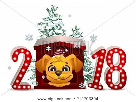 2018 year of yellow dog in Chinese calendar. Cartoon dog in doghouse looks forward and christmas pine tree. Vector illustration