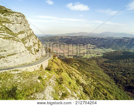 Road Through Delika Canyon With River Nervion, Spain