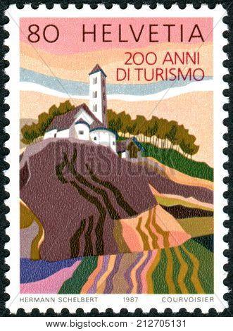 Switzerland - Circa 1987: A Postage Stamp Printed In Switzerland, Dedicated To Bicentenary Of Touris