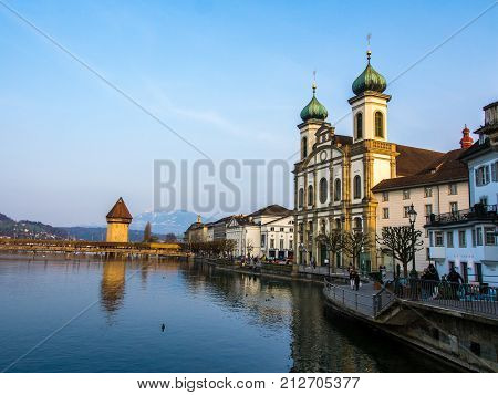 SWITZERLAND LUCERNE - MARCH 19 2015: Lucerne City View With River Reuss