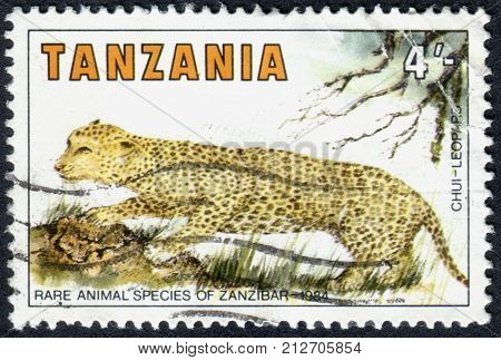 TANZANIA - CIRCA 1984: A stamp printed in Tanzania dedicated to Rare Species of Zanzibar shows a Leopard (Panthera pardus) circa 1984