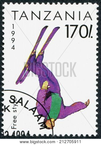 TANZANIA - CIRCA 1994: A stamp printed in Tanzania dedicated to Winter Olympics Game in Lillehammer depicted Free Style circa 1994