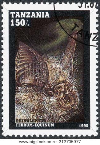 TANZANIA - CIRCA 1995: A stamp printed in Tanzania shows the greater horseshoe bat (Rhinolophus ferrumequinum) circa 1995