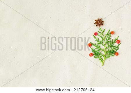 Christmas Tree Made Of Thuja Branches And Decorations Star Of Anise And Ashberry On Rustic Backgroun