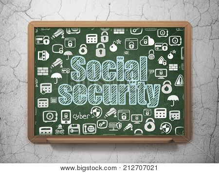 Security concept: Chalk Blue text Social Security on School board background with  Hand Drawn Security Icons, 3D Rendering