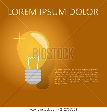 A light bulb. On a yellow background. The concept of a business idea, a creative idea. Vector illustration.