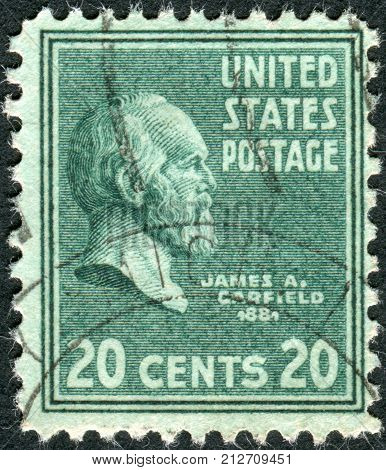 USA - CIRCA 1938: Postage stamps printed in USA shows 20th President of the United States James Abram Garfield circa 1938